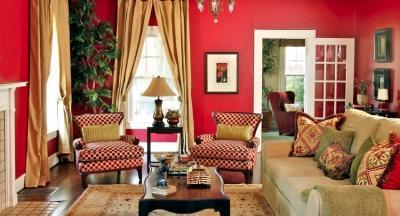 Красноватые обои в интерьере, энергетика цвета и принципы формирования контрастов